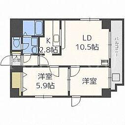 北海道札幌市中央区南十二条西12丁目の賃貸マンションの間取り