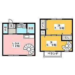 [テラスハウス] 愛知県豊川市大橋町3丁目 の賃貸【愛知県 / 豊川市】の間取り
