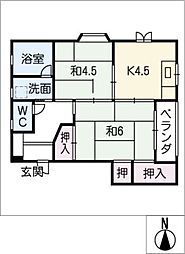 SONOBE BIRU[2階]の間取り