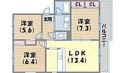 コーラル西宮 3階3LDKの間取り