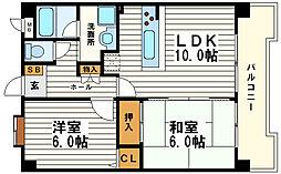 日宝サンフラッツ東平[8階]の間取り
