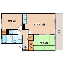 奈良県香芝市逢坂7丁目の賃貸アパートの間取り