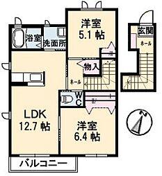 広島県福山市加茂町大字下加茂の賃貸アパートの間取り