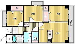 大阪府茨木市上中条2丁目の賃貸マンションの間取り