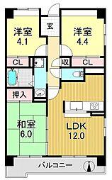 サニークレスト平野西脇[8O7号室号室]の間取り
