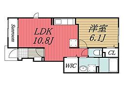 JR総武本線 四街道駅 バス9分 山王公民館下車 徒歩9分の賃貸アパート 1階1LDKの間取り