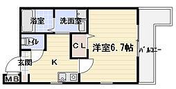 大阪府門真市栄町の賃貸アパートの間取り