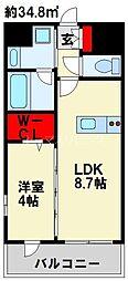 デザイナーズ ザ・レトロ 2階1LDKの間取り
