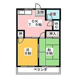 コーポ梅五[2階]の間取り