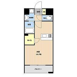 LIBTH(リブス)平尾II 8階ワンルームの間取り