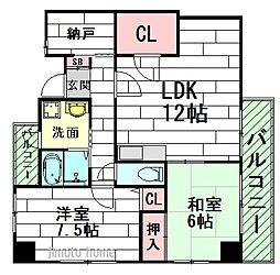 大阪府豊中市本町6丁目の賃貸マンションの間取り