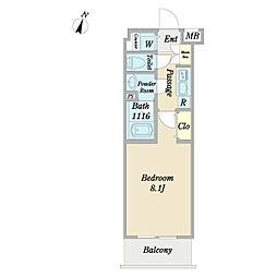 ディアレイシャス経堂 3階1Kの間取り