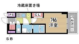 エスリード神戸元町ヒルズ 4階1Kの間取り