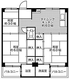 ビレッジハウス伏屋3号棟[3階]の間取り
