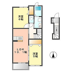愛知県北名古屋市徳重本郷の賃貸アパートの間取り