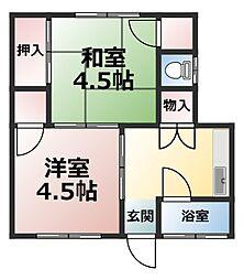 竹本アパート 2階 東[2号室]の間取り