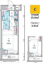 東京メトロ丸ノ内線 荻窪駅 徒歩14分の賃貸マンション 6階1Kの間取り