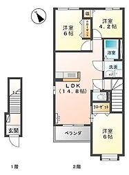 山口県下関市大字宇部の賃貸アパートの間取り