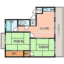 旭ヶ丘コーポラス[2階]の間取り