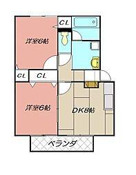 ファミール葛原Ⅱ[203号室]の間取り