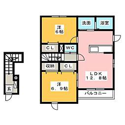 エスパスドゥレーヴB[2階]の間取り