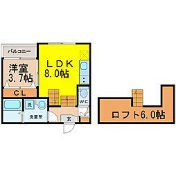愛知県名古屋市北区東水切町2丁目の賃貸アパートの間取り