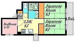 広島県広島市西区中広町1丁目の賃貸マンションの間取り