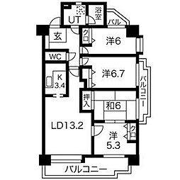 ラ・キャッスル和合[8階]の間取り