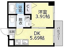JR大阪環状線 桜ノ宮駅 徒歩6分の賃貸マンション 2階1DKの間取り