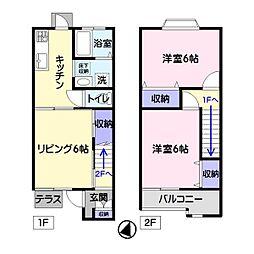 サンライズ子ノ神B[1階]の間取り