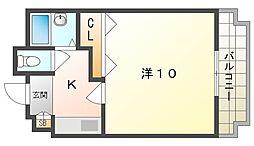 セブンスヒルII 5階1Kの間取り