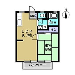須山ハイツ[201号室]の間取り