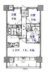 サンリヤン箱崎イーストコート[9階]の間取り