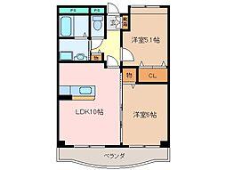 三重県松阪市石津町の賃貸マンションの間取り