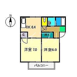 ラフォーレアパート A棟[1階]の間取り