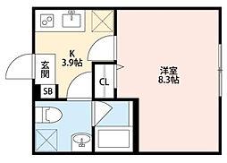 東京都江戸川区東小松川3丁目の賃貸アパートの間取り