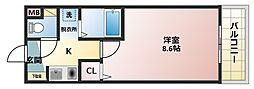 大阪府八尾市桜ヶ丘2丁目の賃貸マンションの間取り