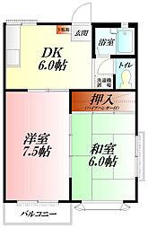 埼玉県行田市佐間3丁目の賃貸アパートの間取り
