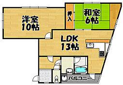 兵庫県川西市栄根1丁目の賃貸アパートの間取り