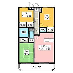 サンツヤマモトA[2階]の間取り