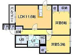 北海道江別市上江別の賃貸アパートの間取り