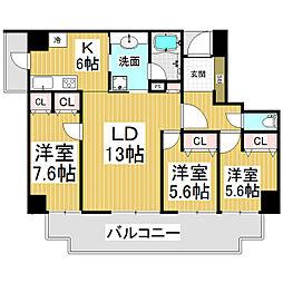 アーバンシティ長野鶴賀プライドコート[8階]の間取り