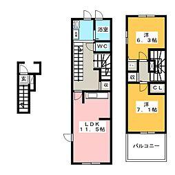 サニーコスモ[2階]の間取り