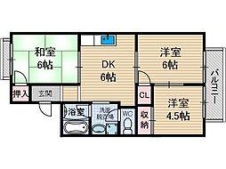 ディアコートJOY2[1階]の間取り