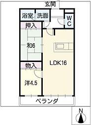 極楽館586[1階]の間取り