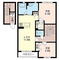 ラ・ソレイユ B[2階]の間取り