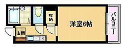 大阪府大阪市都島区高倉町1の賃貸マンションの間取り