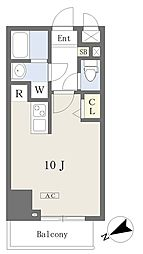 プライムコート本八幡 14階ワンルームの間取り