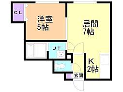 NRJイシヤマ 2階1LDKの間取り