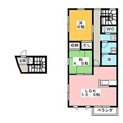 スクエア赤代[2階]の間取り